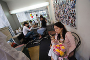 Apgujeong. Fashionable Rodeo Street shopping area. Waiting room at a portrait photographer.