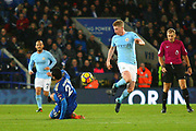 Manchester City midfielder Kevin de Bruyne (17) goes past Leicester City midfielder Vicente Iborra (21) during the Premier League match between Leicester City and Manchester City at the King Power Stadium, Leicester, England on 18 November 2017. Photo by John Potts.