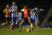Birmingham City midfielder David Davis (26) and Brighton central midfielder, Beram Kayal (7) during the Sky Bet Championship match between Brighton and Hove Albion and Birmingham City at the American Express Community Stadium, Brighton and Hove, England on 28 November 2015.