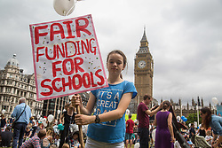 London, July 16th 2017. Hundreds of parents, children and teachers take part in a 'Picnic protest', marching from Richmond terrace in Whitehall to Parliament Square for a rally, calling for fair funding for all schools.
