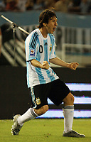 Fotball<br /> Foto: Piko Press/Digitalsport<br /> NORWAY ONLY<br /> <br /> BUENOS AIRES, ARGENTINA - MARCH 28, 2009.<br /> 2010 FIFA World Cup qualifying Soccer match between ARGENTINA and VENEZUELA in the River Plate Stadium.<br /> Here Argentine LIONEL MESSI celebrating his goal