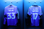 AFC Wimbledon striker Lyle Taylor (33) and AFC Wimbledon striker Andy Barcham (17) shirts during the The FA Cup 3rd round match between Tottenham Hotspur and AFC Wimbledon at Wembley Stadium, London, England on 7 January 2018. Photo by Matthew Redman.