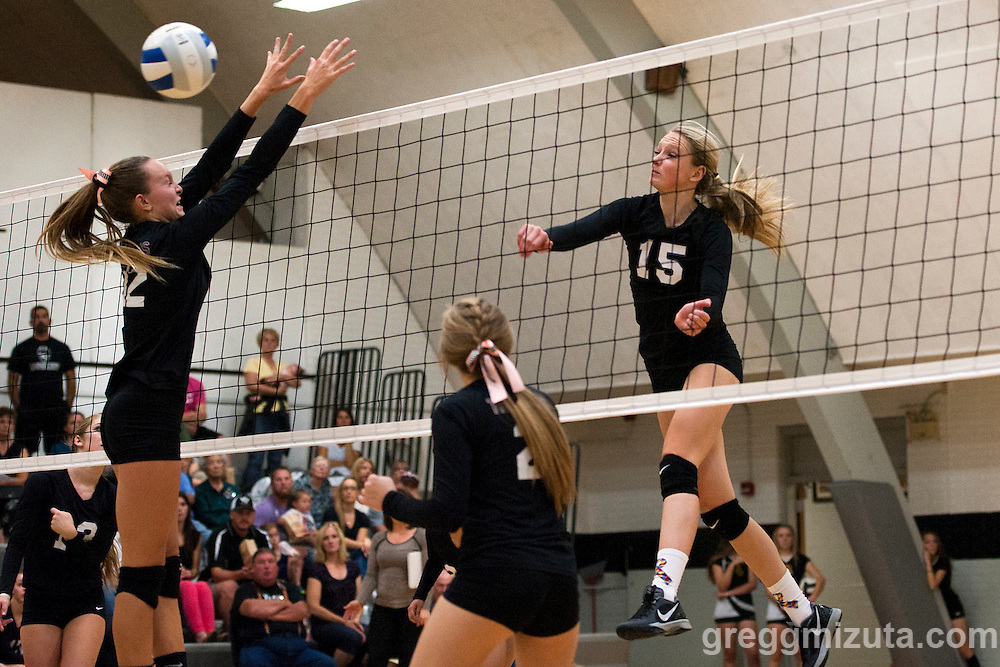 Preslee Jensen. Vale Nampa Christian volleyball, September 22, 2015, Vale High School, Vale, Oregon.