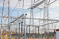 Electric pylons at power plant