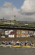 Putney, London, ENGLAND, 28.03.2006, Oxford pass under Hammersmith Bridge during the training outing on the River Thames in preperation for the 2006, Boat Race, on Sunday 2nd April. Varsity, Tideway Week, Tuesday,  © Peter Spurrier/Intersport-images.com.[Mandatory Credit Peter Spurrier/ Intersport Images] Varsity, Boat race. Rowing Course: River Thames, Championship course, Putney to Mortlake 4.25 Miles