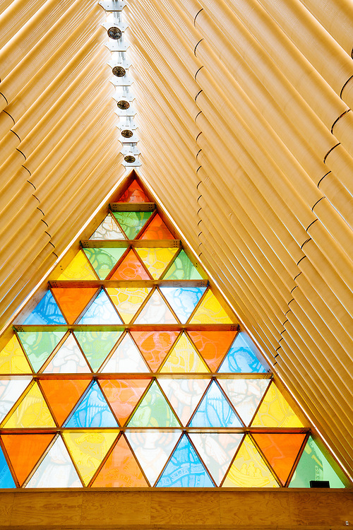 Interior of Christchurch's  unique Cardboard Cathedral. Christchurt