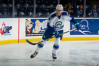 KELOWNA, BC - OCTOBER 23:  Connor Horning #36 of the Swift Current Broncos warms up against the Kelowna Rockets at Prospera Place on October 23, 2018 in Kelowna, Canada. (Photo by Marissa Baecker/Getty Images) ***Local Caption***
