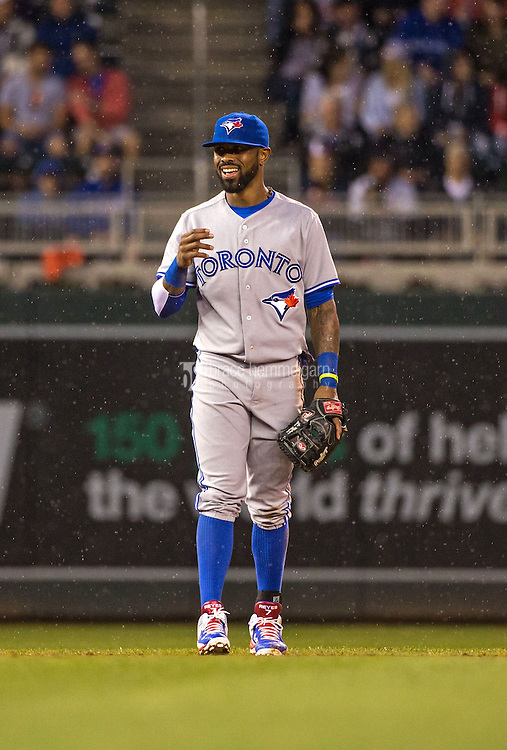 MINNEAPOLIS, MN- MAY 29: Jose Reyes #7 of the Toronto Blue Jays laughs against the Minnesota Twins on May 29, 2015 at Target Field in Minneapolis, Minnesota. The Blue Jays defeated the Twins 6-4. (Photo by Brace Hemmelgarn) *** Local Caption *** Jose Reyes