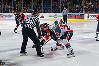 KELOWNA, CANADA - JANUARY 30: Kyle Topping #24 of the Kelowna Rockets faces off against James Hamblin #10 of the Medicine Hat Tigers on January 30, 2017 at Prospera Place in Kelowna, British Columbia, Canada.  (Photo by Marissa Baecker/Shoot the Breeze)  *** Local Caption ***