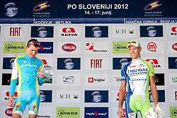 Jani Brajkovic and Kristjan Koren during 3rd Stage (219 km) at 19th Tour de Slovenie 2012, on June 16, 2012, in Skofja Loka, Slovenia. (Photo by Urban Urbanc / Sportida.com)