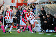 Raffaele De Vita attacks during the The FA Cup match between Cheltenham Town and Dover Athletic at Whaddon Road, Cheltenham, England on 7 December 2014.