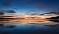 Sunset at Hafravatn, Iceland.