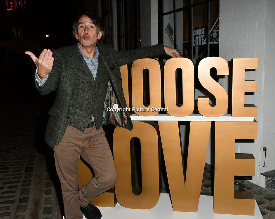 Steve Coogan arrives at Choose Love shop launch at Foubert's Place, Carnaby on 22 November 2018, London, UK.Love shop launch at Foubert's Place, Carnaby on 22 November 2018, London, UK.