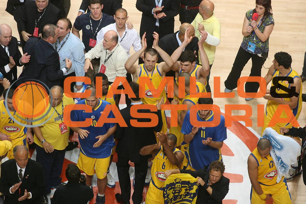 DESCRIZIONE : Madrid Eurolega 2007-08 Final Four Semifinale Montepaschi Siena Maccabi Tel Aviv<br />GIOCATORE : Team Maccabi Tel Aviv<br />SQUADRA : Maccabi Tel Aviv<br />EVENTO : Eurolega 2007-2008 <br />GARA : Montepaschi Siena Maccabi Tel Aviv<br />DATA : 02/05/2008 <br />CATEGORIA : Esultanza<br />SPORT : Pallacanestro <br />AUTORE : Agenzia Ciamillo-Castoria/G.Ciamillo