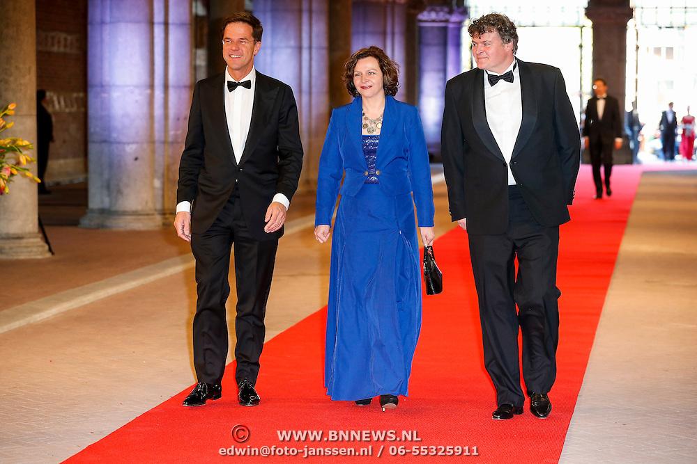 NLD/Amsterdam/20130429- Afscheidsdiner Konining Beatrix Rijksmuseum, premier Mark Rutte en Tweede Kamervoorzitter Anouchka van Miltenburg en partner