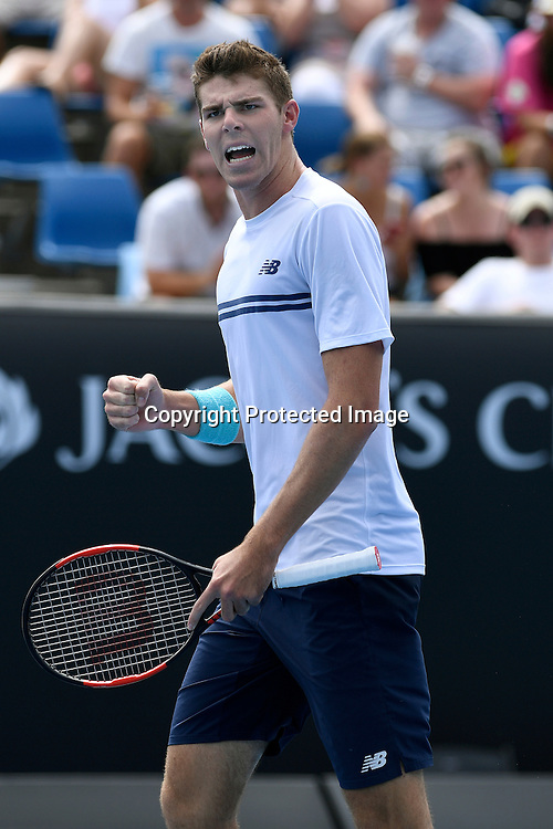 David Goffin (BEL) during his win over Reilly Opelka (USA) today in  round 1. January 17th 2017,  Melbourne Park, Melbourne, Australia; 2017 Australian Open Tennis Grand Slam tournament<br /> (C) Jeff Crow / STL / www.photosport.nz