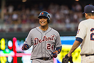 Miguel Cabrera #24 of the Detroit Tigers smiles during a game against the Minnesota Twins on June 15, 2013 at Target Field in Minneapolis, Minnesota.  The Twins defeated the Tigers 6 to 3.  Photo: Ben Krause