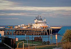 Seismic ship Fugro 327 docked at the Broome jetty.