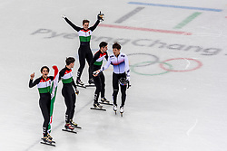 22-02-2018 KOR: Olympic Games day 13, PyeongChang<br /> Short Track Speedskating / Shaoang Liu #5 of Hungary, Viktor Knoch #11 of Hungary, Csaba Burjan #183 of Hungary, Shaolin Sandor Liu #10 of Hungary