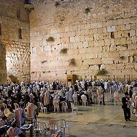 "JERUSALEM - SEP 26 : The Wailing wall during the penitential prayers the ""Selichot"" , held on September 26 2011 in  Jerusalem , Israel"