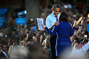 President of the United States Barack Obama greets Ohio University student Shannon Welch, a senior majoring in Political Science and minoring in French, and the current President of the OU College Democrats.  Obama spoke to a crowd of nearly 14,000 on Ohio University's College Green in Athens, Ohio, on Wednesday, October 17, 2012.  (© 2012 Brien Vincent)