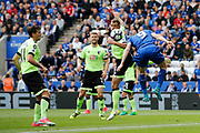 AFC Bournemouth defender Steve Cook defends a Leicester City cross from Leicester City forward Jamie Vardy during the Premier League match between Leicester City and Bournemouth at the King Power Stadium, Leicester, England on 21 May 2017. Photo by Richard Holmes.