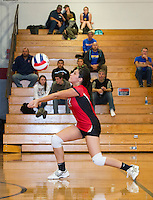 Laconia's Bonita Olivares bumps the ball during Wednesday night's NHIAA Division III Volleyball matchup with Gilford.  (Karen Bobotas/for the Laconia Daily Sun)