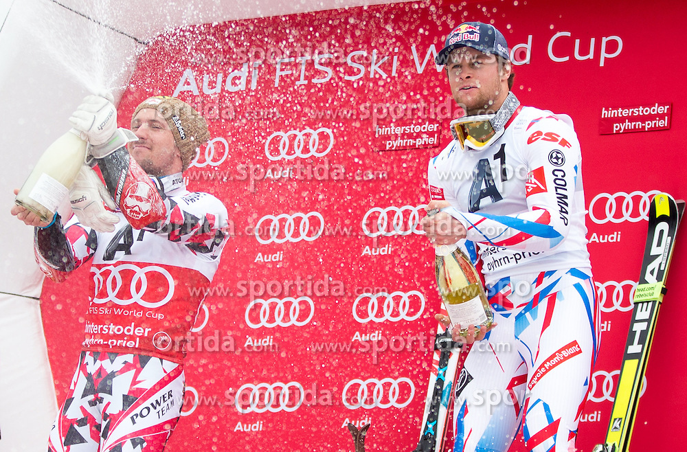 28.02.2016, Hannes Trinkl Rennstrecke, Hinterstoder, AUT, FIS Weltcup Ski Alpin, Hinterstoder, Riesenslalom, Herren, Podium, im Bild v.l. Marcel Hirscher (AUT, 2. Platz), Alexis Pinturault (FRA, 1. Platz) spritzen mit Sekt // f.l.t.r. 2nd placed Marcel Hirscher of Austria and winner Alexis Pinturault of France Celebrate with austrian Champagner celebrates on Podium of men's Giant Slalom of Hinterstoder FIS Ski Alpine World Cup at the Hannes Trinkl Rennstrecke in Hinterstoder, Austria on 2016/02/28. EXPA Pictures © 2016, PhotoCredit: EXPA/ Johann Groder