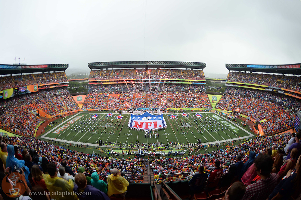 January 26, 2014; Honolulu, HI, USA; General view of Aloha Stadium before the 2014 Pro Bowl.