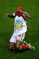 """Bristol City Midfielder Jay Emmanuel-Thomas (ENG) celebrates scoring a goal by revealing a tshirt that reads """"leave it yeah!""""during the first half of the match - Photo mandatory by-line: Rogan Thomson/JMP - Tel: 07966 386802 - 04/09/2013 - SPORT - FOOTBALL - Ashton Gate, Bristol - Bristol City v Bristol Rovers - Johnstone's Paint Trophy - First Round - Bristol Derby"""