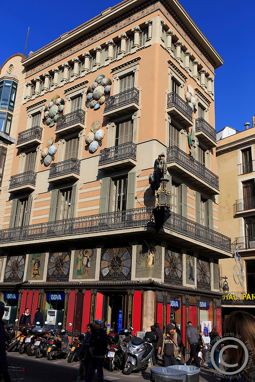 A beautiful old building in central Barcelona, Spain