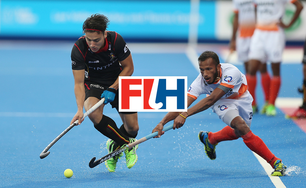LONDON, ENGLAND - JUNE 13:  Thomas Briels of Belgium and Sunil Sowmarpet of India during the FIH Mens Hero Hockey Champions Trophy match between Belgium and India at Queen Elizabeth Olympic Park on June 13, 2016 in London, England.  (Photo by Alex Morton/Getty Images)