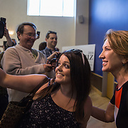 TOWSON, MD- APR18: Former Presidential candidate Carly Fiorina lends her support to candidate Ted Cruz at a Cruz rally in Townson, Maryland, April 18, 2016, at the American Legion Post 22. (Photo by Evelyn Hockstein/For The Washington Post)