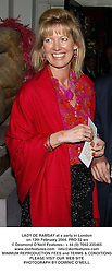 LADY DE RAMSAY at a party in London on 12th February 2004.PRO 32 wo