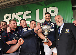 Westport captains David Keane and Liam Scahill Westport are presented the Connacht Junior Cup by Adrian Leddy President of the Connacht Branch.<br /> Pic Conor McKeown