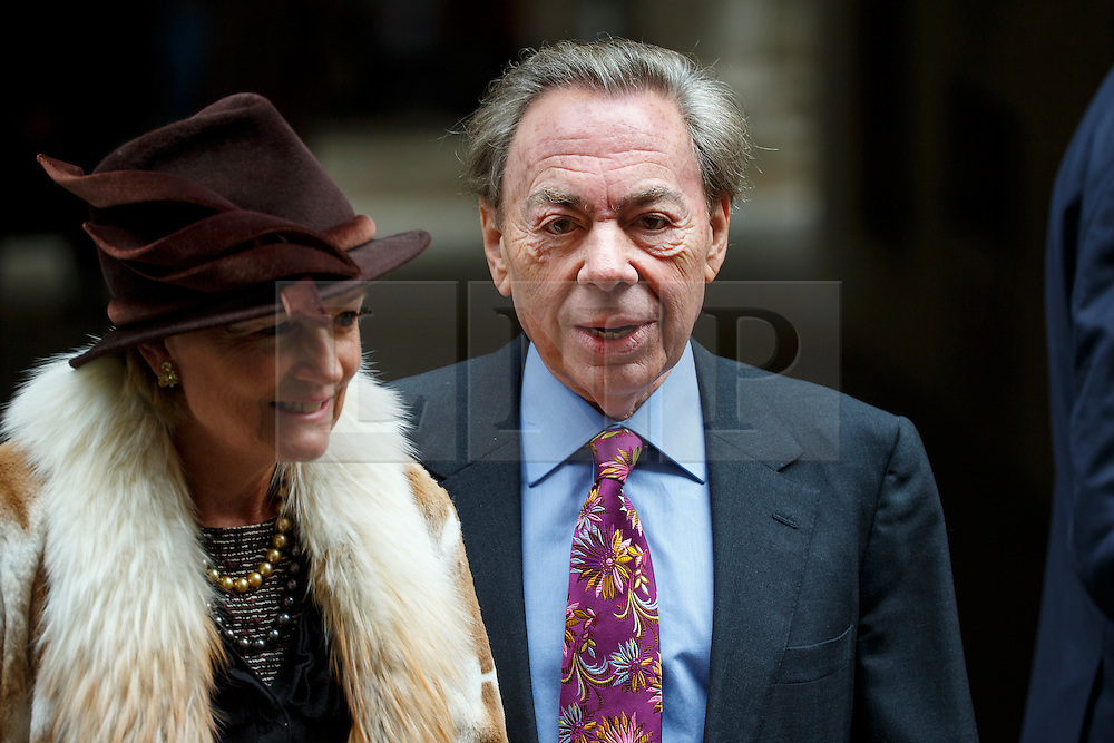 © Licensed to London News Pictures. 05/03/2016. London, UK. Andrew Lloyd Webber leaving Rupert Murdoch and Jerry Hall's wedding ceremony at St Bride's Church in Fleet Street, London on Saturday, 5 March 2016. Photo credit: Tolga Akmen/LNP