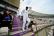 Michael Carberry walks down the steps to start play of the first morning of the Specsavers County Champ Div 1 match between Hampshire County Cricket Club and Middlesex County Cricket Club at the Ageas Bowl, Southampton, United Kingdom on 14 April 2017. Photo by Graham Hunt.