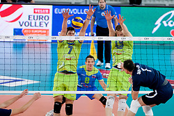 Matevz Kamnik #7 and Tine Urnaut #13 of Slovenia during volleyball match of FIVB Men's Volleyball World Championship 2014 Qualifications between National teams of Slovenia and Moldova in pool B on May 25, 2013 in Arena Stozice, Ljubljana, Slovenia. (Photo By Urban Urbanc / Sportida)