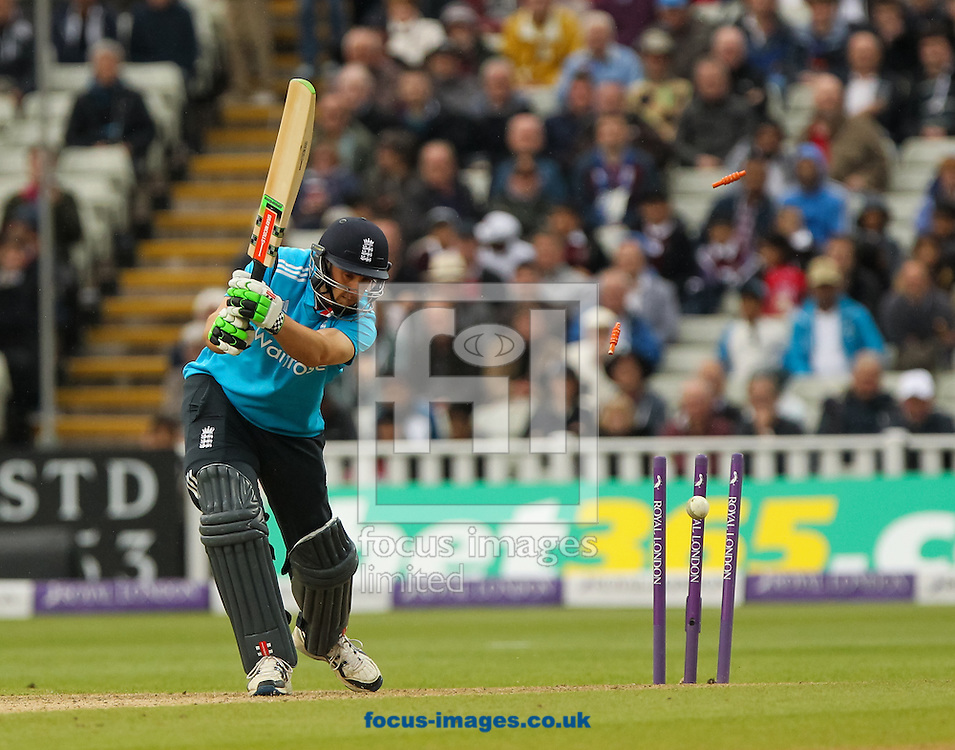 James Tredwell of England is bowled out by Lasith Malinga of Sri Lanka during the Royal London One Day Series match at Edgbaston, Birmingham<br /> Picture by Tom Smith/Focus Images Ltd 07545141164<br /> 03/06/2014