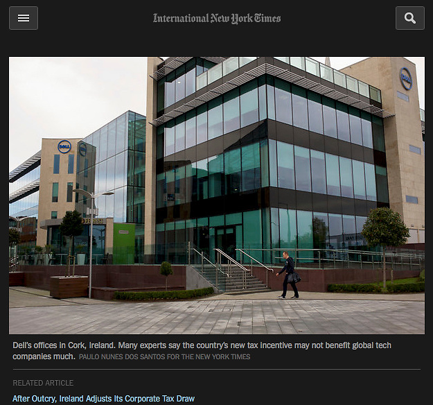 "Screengrab of ""Ireland Taxes"" published in The New York Times"