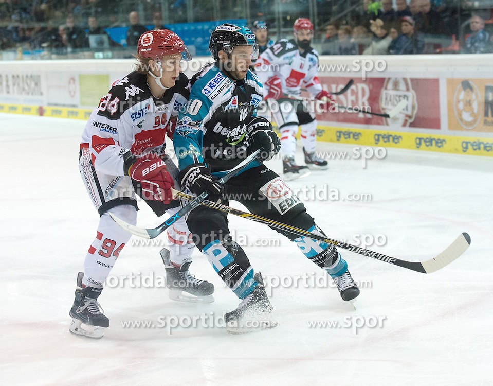 05.12.2015, Keine Sorgen Eisarena, Linz, AUT, EBEL, EHC Liwest Black Wings Linz vs HC TWK Innsbruck Die Haie, 27. Runde, im Bild Marc-Andre Dorion (EHC Liwest Black Wings Linz) und Dominique Saringer (HC TWK Innsbruck  Die Haie) // during the Erste Bank Icehockey League 27thround match between EHC Liwest Black Wings Linz and HC TWK Innsbruck  Die Haie at the Keine Sorgen Icearena, Linz, Austria on 2015/12/05. EXPA Pictures © 2015, PhotoCredit: EXPA/ Reinhard Eisenbauer