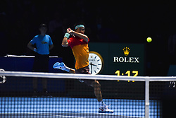 November 15, 2018 - London, England, United Kingdom - Dominic Thiem of Austria celebrates his victory during his round robin match against Kei Nishikori of Japan during Day Five of the Nitto ATP Finals at The O2 Arena on November 15, 2018 in London, England. (Credit Image: © Alberto Pezzali/NurPhoto via ZUMA Press)
