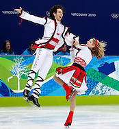 United States' Tanith Belbin (R) and Benjamin Agosto skate during their original dance program in the ice dancing competition at the 2010 Winter Olympics in Vancouver, Canada on February 21, 2010.  (UPI)