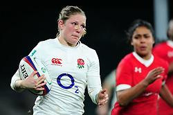 Lydia Thompson of England goes on the attack - Mandatory byline: Patrick Khachfe/JMP - 07966 386802 - 26/11/2016 - RUGBY UNION - Twickenham Stadium - London, England - England Women v Canada Women - Old Mutual Wealth Series.