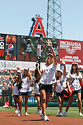 ANAHEIM, CA - JUNE 05:  Members of the Strike Force wave and shoot t-shirts into the stadium seats for the fans before the Los Angeles Angels of Anaheim game against the New York Yankees on June 5, 2011 at Angel Stadium in Anaheim, California. The Yankees won the game 5-3. (Photo by Paul Spinelli/MLB Photos via Getty Images)