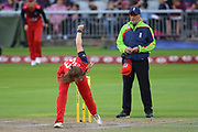 Lancashire Thunders Alice Dyson during the Women's Cricket Super League match between Lancashire Thunder and Loughborough Lightning at the Emirates, Old Trafford, Manchester, United Kingdom on 20 August 2019.