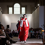 13.05.2016.           <br /> A model showcases designs by Siobhan Garvey titled 'TKO 14' at the much anticipated Limerick School of Art & Design, LIT, (LSAD) Graduate Fashion Show on Thursday 12th May 2016. The show took place at the LSAD Gallery where 27 graduates from the largest fashion degree programme in Ireland showcased their creations. Ranked among the world's top 50 fashion colleges, Limerick School of Art and Design is continuing to mold future Irish designers.. Picture: Alan Place/Fusionshooters