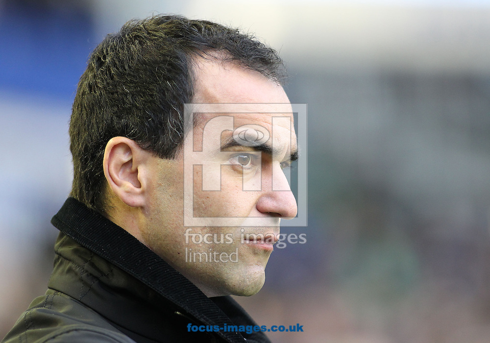 Picture by Michael Sedgwick/Focus Images Ltd +44 7900 363072<br /> 04/01/2014<br /> Roberto Martinez, manager of Everton on the touchline prior to the FA Cup match against Queens Park Rangers at Goodison Park, Liverpool.