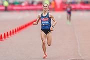 Carla Salome Rocha (Portugal), approaching the finish line in the Women's Elite race, during the Virgin Money 2019 London Marathon, London, United Kingdom on 28 April 2019.