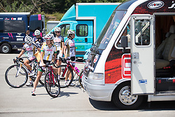 Servetto-Giusta Cycling Team riders prepare for Stage 8 of the Giro Rosa - a 141.8 km road race, between Baronissi and Centola fraz. Palinuro on July 7, 2017, in Salerno, Italy. (Photo by Balint Hamvas/Velofocus.com)